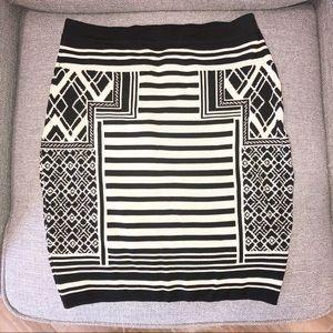 Jealous Tomato Cream Black Printed Knit Mini Skirt